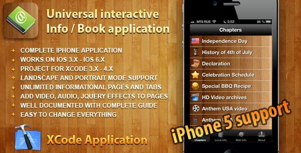 Universal Interactive Info application for iPhone