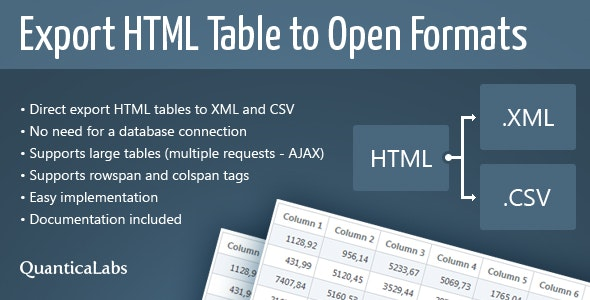 Export HTML Table to Open Formats - CodeCanyon Item for Sale