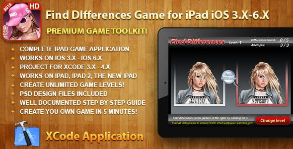 Find Difference Puzzle Game Toolkit for iPad