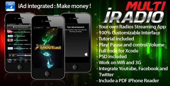 Multi iRadio - Unlimited Radio - iAd Make Money
