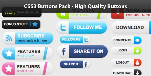 CSS3 Buttons Pack