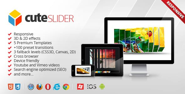 Cute Slider - 3D & 2D HTML5 Image Slider        Nulled
