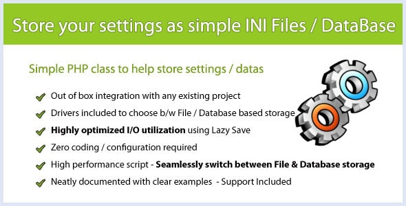 PHP Class for Storing Settings in INI or DB Files - CodeCanyon Item for Sale