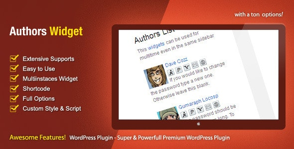 Authors Widget - WordPress Premium Plugin - CodeCanyon Item for Sale