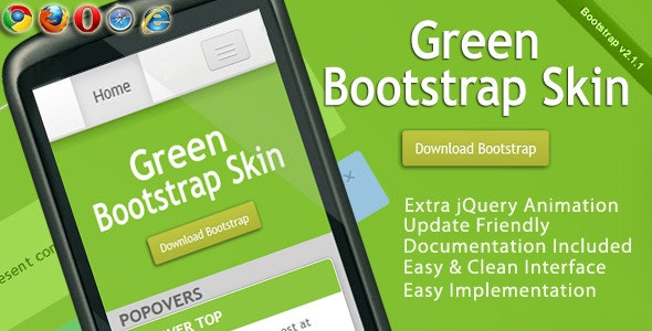 Green Bootstrap Skin - CodeCanyon Item for Sale
