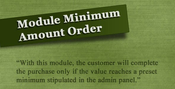 Module Minimum Amount Order (vQmod)