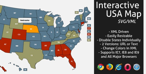 Interactive SVG USA Map by LGLab | CodeCanyon