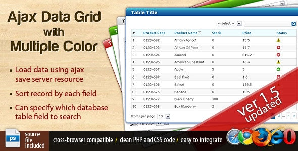Ajax Data Grid With Multiple Color - CodeCanyon Item for Sale
