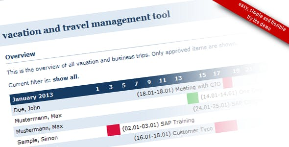 Vacation and Travel Management Tool