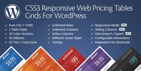 CSS3 Responsive WordPress Compare Pricing Tables - CodeCanyon Item for Sale