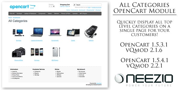 All Categories Module for OpenCart (vQmod)