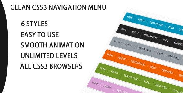 Pure Css3 Horizontal Navigation Menu - CodeCanyon Item for Sale