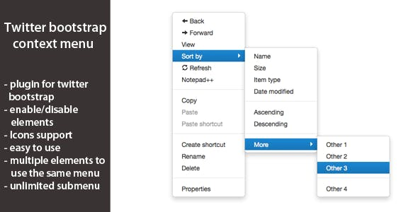 Twitter Bootstrap Context Menu version 1.1