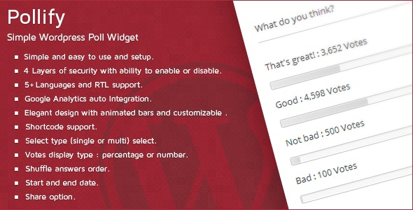 Pollify - Simple Wordpress Poll Widget - CodeCanyon Item for Sale