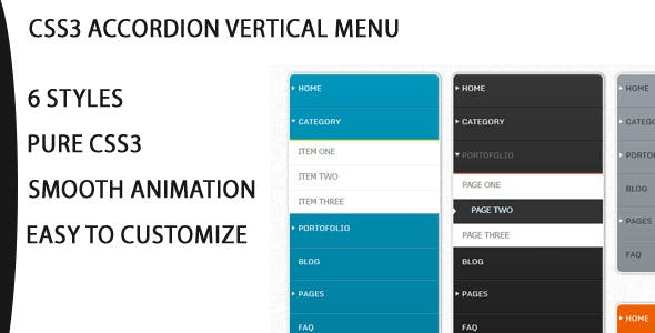 Css3 Vertical Accordion Navigation Menu