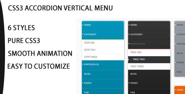 Css3 Vertical Accordion Navigation Menu - CodeCanyon Item for Sale