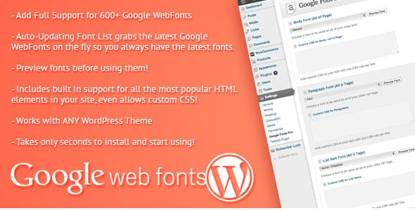 Google Web Fonts for WordPress - CodeCanyon Item for Sale