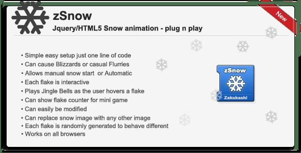 zSnow - Jquery/HTML5 snow animation theme