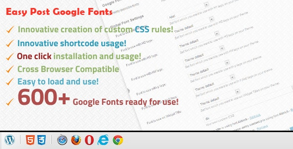 Easy Post Google Fonts - CodeCanyon Item for Sale