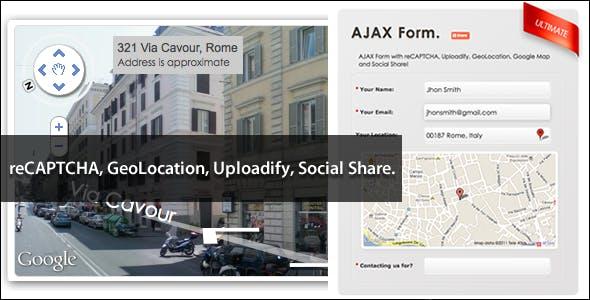 AJAX Form: reCAPTCHA Uploadify Google Map AddThis!