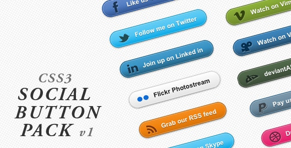 Social Button Pack - CodeCanyon Item for Sale