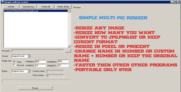 Simple multi pic resizer - CodeCanyon Item for Sale