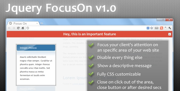 jQuery FocusOn - Highlight an area of your website - CodeCanyon Item for Sale