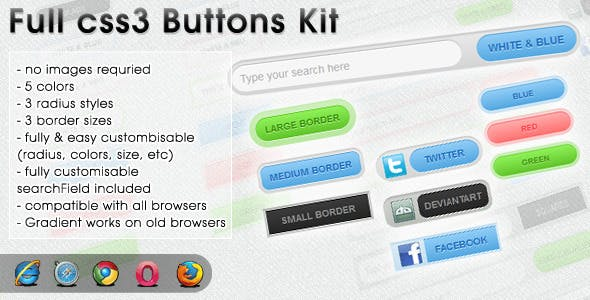 CSS 3 Buttons Kit