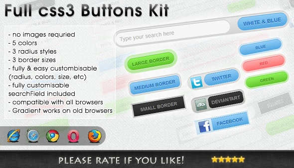 CSS 3 Buttons Kit - CodeCanyon Item for Sale