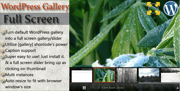 WordPress Full Screen Gallery - CodeCanyon Item for Sale