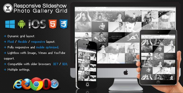 Responsive Slideshow Photo Gallery Grid
