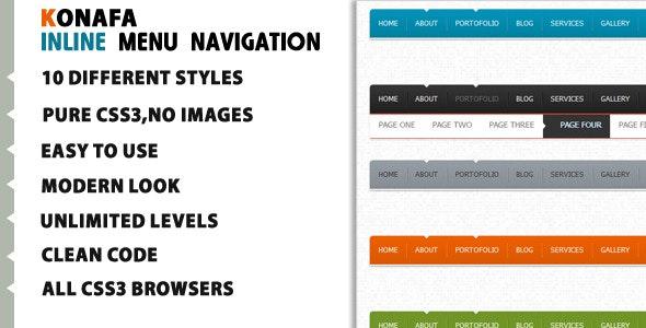 Konafa Inline Horizontal Menu Navigation - CodeCanyon Item for Sale