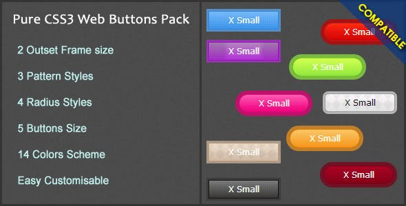 Pure CSS3 Web Buttons Pack