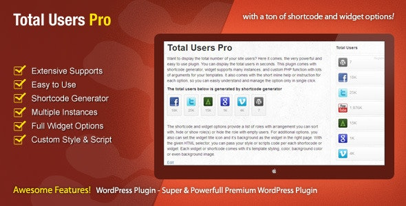 Total Users Pro - WordPress Users Counter - CodeCanyon Item for Sale
