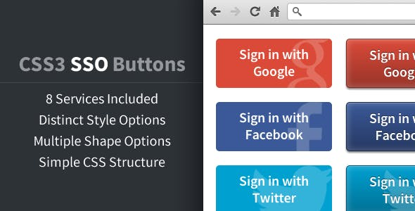 CSS3 Social Sign On Buttons