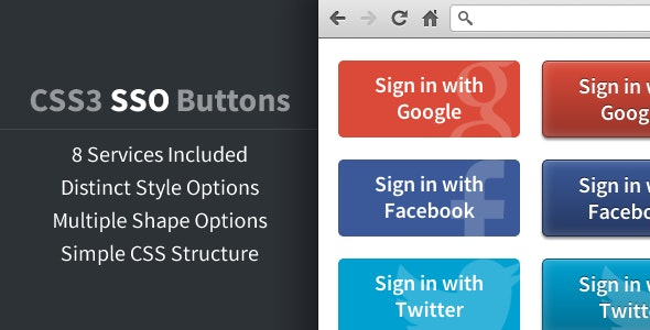 CSS3 Social Sign On Buttons - CodeCanyon Item for Sale