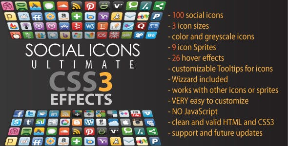 Social Icons - Ultimate CSS3 Effects