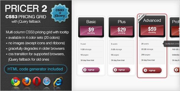 Pricer2 - CSS3 Pricing Grid