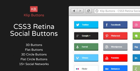 CSS3 Retina Ready Social Buttons - CodeCanyon Item for Sale
