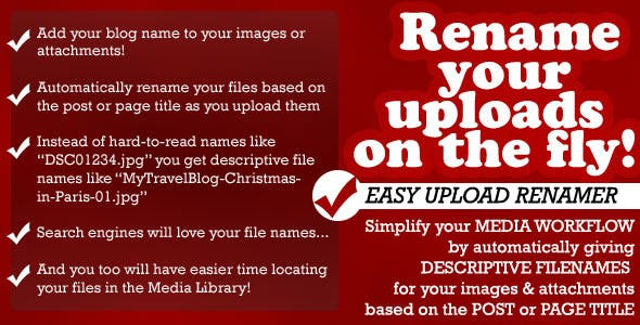 Easy Upload Renamer for WordPress
