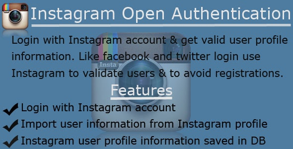 Instagram OAuth Login & DB Integration - CodeCanyon Item for Sale