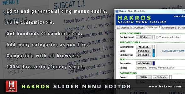 Hakros Slider Menu Editor