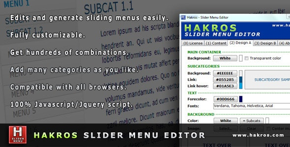Hakros Slider Menu Editor - CodeCanyon Item for Sale