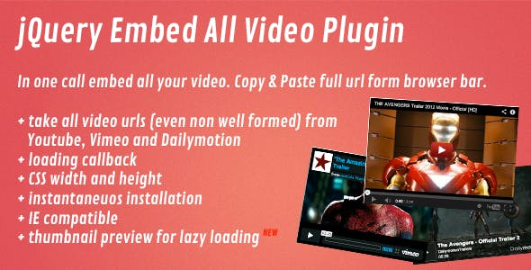 jQuery Embed All Video Plugin