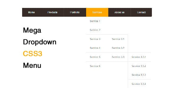Mega Dropdown CSS3 Menu