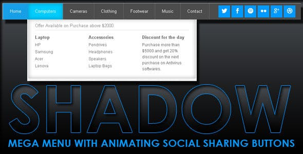 Shadow Mega Menu With Social Share