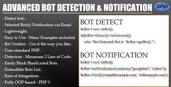 Advanced BOT Detection & Notification - CodeCanyon Item for Sale