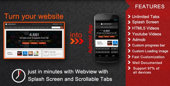 Webview with Splash Screen and Scrollable Tabs - CodeCanyon Item for Sale
