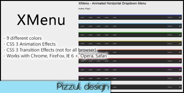 XMenu - Animated Horizontal Dropdown Menu