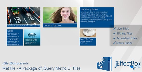 MetTile- A Package of jQuery Metro UI Tiles